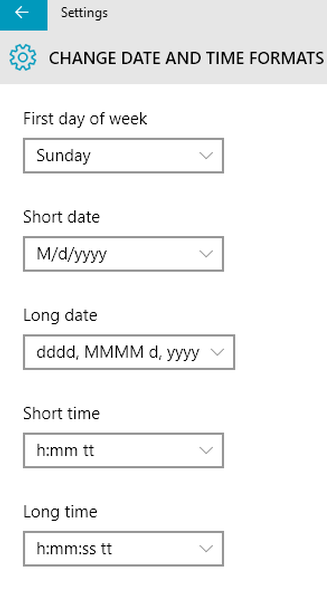 windows 10 change date and time formats