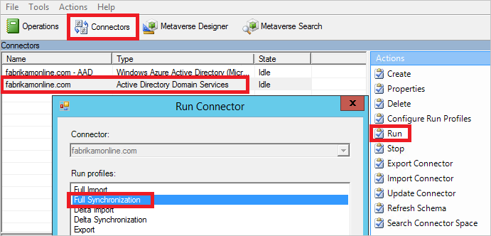 Force Active Directory Sync through Azure AD Connect to