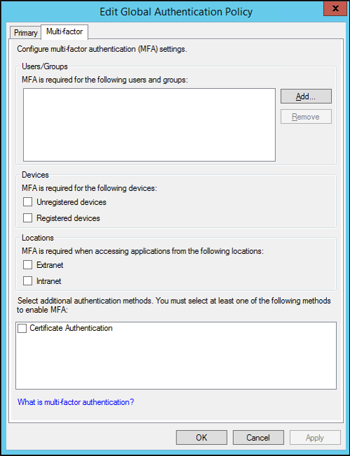 Configure Multi-Factor Authentication on ADFS (Globally or
