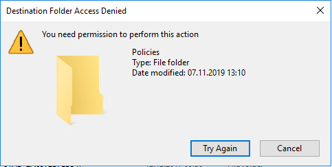 PolicyDefinitions and ADMX/ADML Files cannot be copied